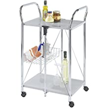 WENKO 900060100 Carrello cucina e portavivande Sunny argento - pieghevole, Metallo patinato, 56.5 x 90.5 x 44 cm,