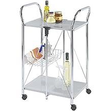 WENKO 900060100 Carrello cucina e portavivande Sunny argento - pieghevole, Metallo patinato, 56.5 x 90.5 x 44 cm, Argento