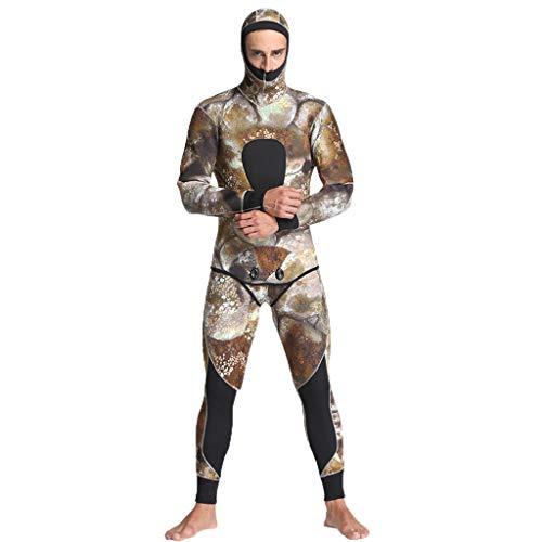 QIMANZI Taucheranzug Männer 5mm Neopren Thermal Neoprenanzüge Tauchen 2 Stück Badeanzug Jacken Hosen(Khaki,S)