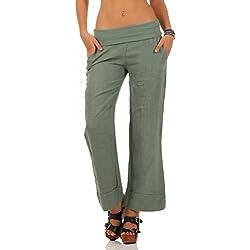 Malito Pantalones de Lino Estilo Clásico Pantalones de Verano 8076 Mujer (S, Oliva)