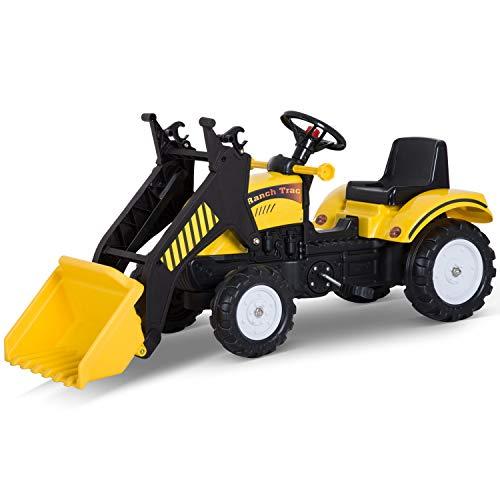 Homcom Tracteur à pédales tractopelle Ranch Trac Jeu de Plein air Enfants 3 à 6 Ans Jaune Noir