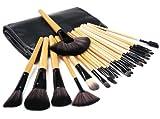 Kabalo 24-Stück-Pinselset Berufsverfassungs-Bürsten-Satz mit Holzgriff, Make-up Pinsel für Foundation, Rouge, Mascara, Kosmetik, etc - mit kostenlosen Faux-Leder-Tragetasche