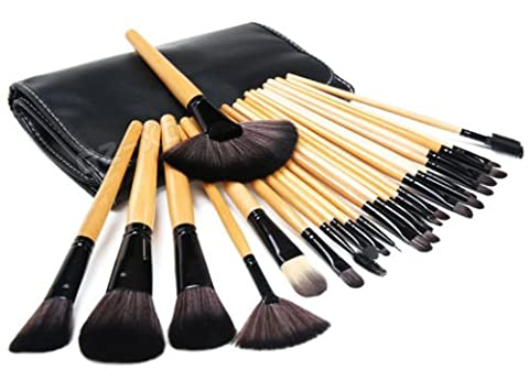 Kabalo 24 pièces pinceaux de maquillage professionnel Set avec manche en bois, Maquillage Brush pour la Fondation, Fard à joues, mascara, cosmétiques, etc - Faux gratuit avec transport en cuir Pouch - Igienici Professionale
