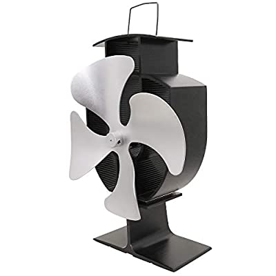 Lincsfire 4 Blades Eco Friendly Stove Fan Heat Powered for Wood Burner/Fireplace Silver