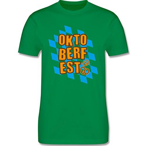 Oktoberfest Herren - Oktoberfest Rauten Brezel - Herren Premium T-Shirt Grün