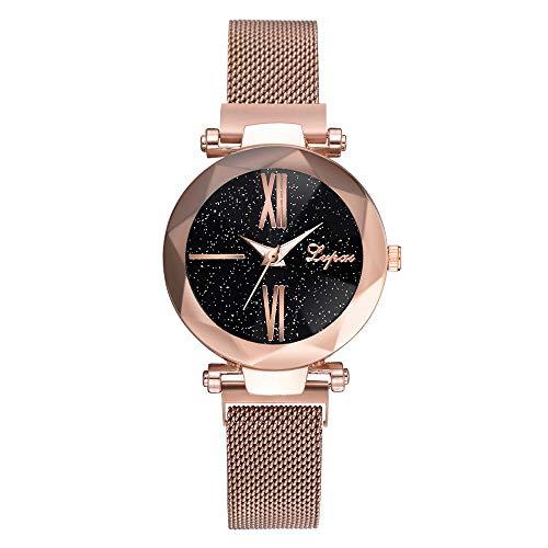 Luckhome Damen Uhr Analog Quarz Mode Sternenhimmel Edelstahl Mesh Gürtel Lässige Analoge Mit Armband Zu Sehen(Hellbraun)