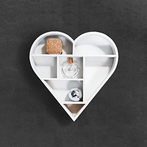 HomeZone Holz Shabby Chic Schwimmende Herz Dekorative Wand Regale Modern und Einzigartig/Rustikale - Weiß -
