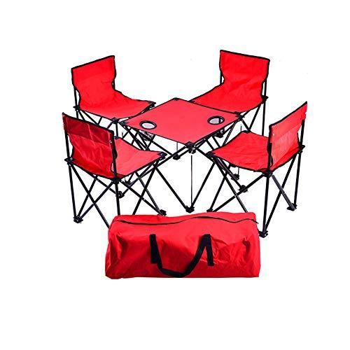 MOIMK Tavolo e Sedia da Esterno Portatile Pieghevole Tavolo e Sedia Combinazione Pacchetto di 5 Set Picnic Barbecue Campeggio Set (sedie * 4 Tavolo * 1),Red