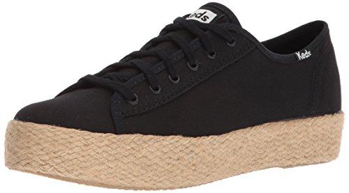 Keds Schnürschuhe Turnschuhe (Keds Damen TPL Kick Jute Black Sneaker, Schwarz, 37.5 EU)