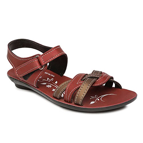 PARAGON Women's Red Fashion Sandals-7 UK/India (41 EU)(PU7916L)