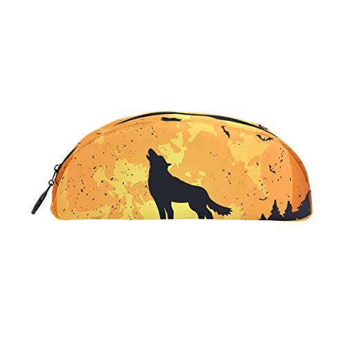 GUKENZ Halloween-Hintergrund mit Wolf Federmäppchen, Stifteetui, Kosmetiktasche, für Teenager, Mädchen, Jungen, Kinder