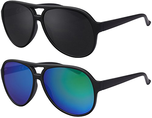 Original La Optica UV400 Unisex Retro Sonnenbrille Pilot - Farben, Einzel-/Doppelpacks, Verspiegelt (Doppelpack Gummiert (Rahmen: 1 x Schwarz, 1 x Grün verspiegelt))