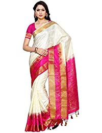 MIMOSA Women's Silk Saree With Blouse Piece(2092-2D-HWT-RNI_White_Free Size)