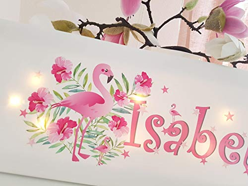 Schlummerlicht mit Name Flamingo Lampe Wandlampe Nachtlicht Geschenk Baby Kinderzimmer