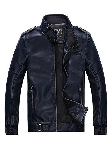 MatchLife Herren Lederjacke Zipper Bike Velvet Jacke Style5-Blau