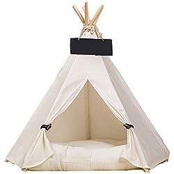Ruick Tente en forme de tipi indien en coton pour chat et chien