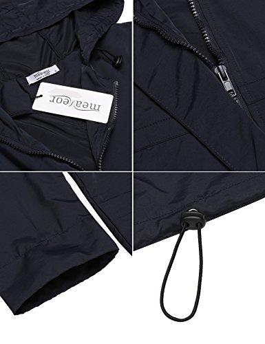 Meaneor Damen Regenjacke Regenmantel mit Kapuze Tasche Funktionsjacke Regenparka Wasserdicht Atmungsaktiv Dunkelblau