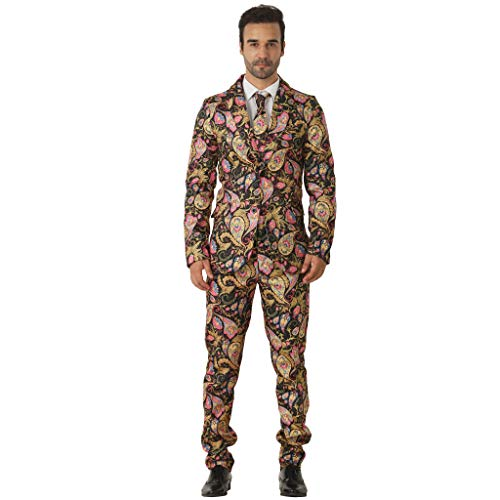 EraSpooky Goldene Paisley Amöbe Anzüge für Männer kommt mit Jacke Hose und Krawatte - Paisley-hosen-anzug