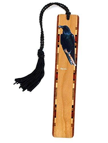 Mitercraft Raven - Bird - Wooden Bookmark with Tassel