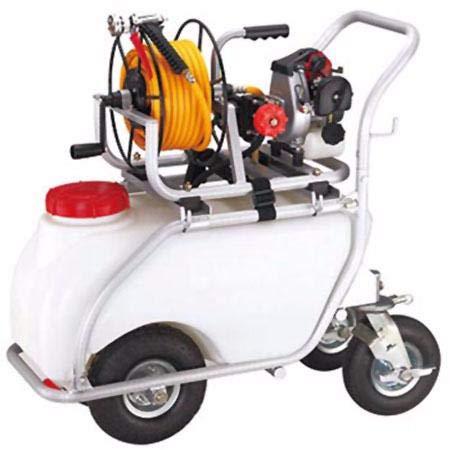 Carretilla fumigadora 50L. Motor 2 tiempos 30bar 10ltr. 2 pistones de acero con cabezas cerámicas.