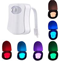 HOMY Colorful Toilet Night Light,Toilet LED Light Motion Sensor Smart Home Bathroom Human Body Auto Motion Activated Sensor Seat Lamp 8-Color Changes(Only Activates in Darkness) from HOMY