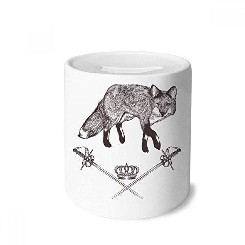 DIYthinker Fox Schwert Crown Tier Barock-Geld-Kasten Sparkassen Keramik Münzfach 3.5 Zoll in...