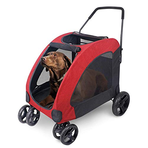 Pet Four-wheeled Stroller Dog Trolley Cat Carts Foldable for Medium Large Dogs Outgoing, Load Within 60kg - Red