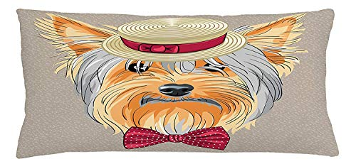 Yorkie Throw Pillow Cushion Cover, Hipster Yorkie with Cute Straw Boater and Bow Tie Hand Drawn Gentleman Dog, Decorative Square Accent Pillow Case, 18 X 18 inches, Apricot Multicolor -