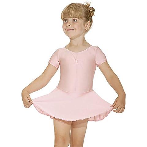 Las niñas de manga corta Ballet conectado a la maillot con ruched frente y falda–ISTD colores, Pale Pink, 5-6