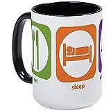 CafePress–Eat Sleep Holz Großer Becher–Kaffee Tasse, groß 15Oz Weiß Kaffee Tasse Large White/Black Inside