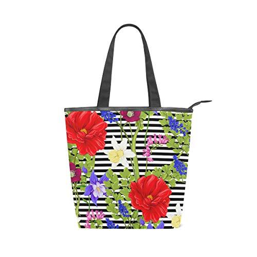 Jeansame Canvas Bag Tote Bag Einkaufstasche mit Tragegriff oben Schultertasche Handtasche Blumen Vintage Vergissme Lavendel - Lavendel Vintage Handtasche