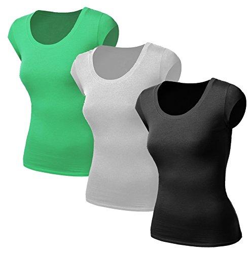 3x Damen Frauen Kurzarm T Shirt - 3er Pack - Basic TShirt - Basis Bluse - Tops - Schwarz + Weiss + Mint - Mint Ringer T-shirt