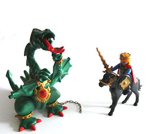 playmobil ® - Ritter - 3840 Grüner Drache für Ritterburg mit König und Schwert