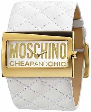 Moschino MW0016 - Reloj analógico de mujer de cuarzo con correa de piel blanca - sumergible a 30 metros