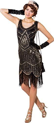 Kostüm 20er Jahre Deluxe, Gr S/M, Kleid gold/schwarz Paillettenkleid mit - Zwanziger Jahre Kostüm