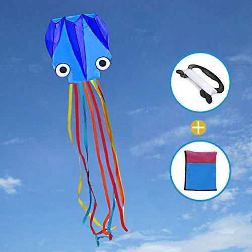 Joy-jam giocattoli per ragazzi 4-10 anni ragazze grande polpo aquilone per bambini e adulti all'aperto giocattoli aquiloni colorato regali per bambini regali spiaggia aquilone con stringa blu