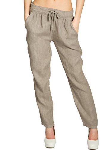 2a688c5ffd9a2f CASPAR KHS045 leichte Damen Sommer Freizeit Hose Leinenhose, Farbe:Taupe,  Größe:M - DE38 UK10 IT42 ES40 US8
