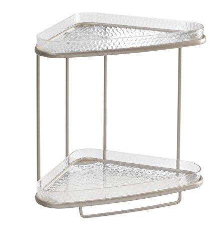 mDesign Estante esquinero para baño– Elegante estanteria de baño con dos baldas para productos de aseo o cosméticos – Repisa de ducha de color plateado - Apliques de baño