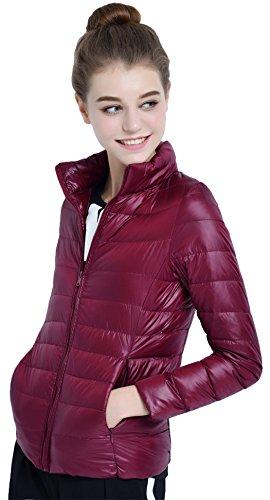 Salamaya Damen Daunenjacken Klassische Packbar Ultra Leicht Gewicht Daunenmantel Verpackbar Stehkragen Winter Kissen Mantel Weinrot