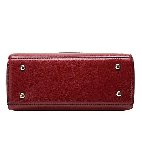YANX Madam Art- und WeiseÖlwachs-Leder-Handtaschen-Damen-Schulter-BeutelTote (27 * 21 * 11cm) wine red