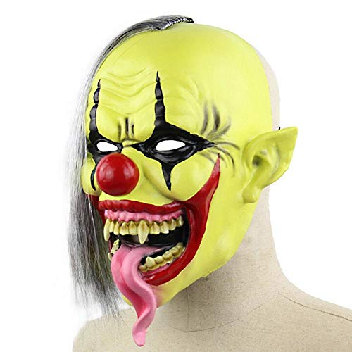 Party Masks - Scary Snake Tongue Evil Green Face Clown Mask Horror Masquerade Adult Ghost Halloween Props Costumes - Face Women Bundles Blue Bulk Masquerade Superhero Luxury Male Glasses A