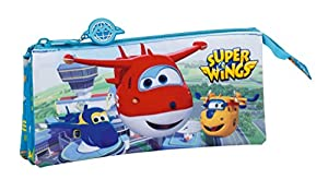 Super Wings- Estuche portatodo Triple (SAFTA 811760744), Color Azul Marino, 22 cm (