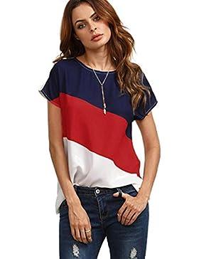 Landfox Blusa Casual de Manga Corta de Gasa de Color Block Para Mujer Blusas de Túnica Camiseta Mezcla de Algodón...