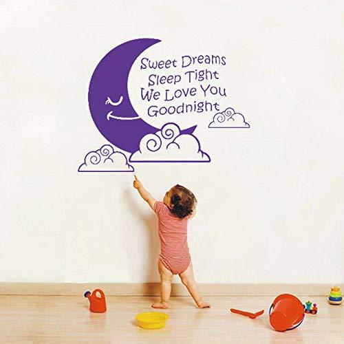 jiushivr Sweet Dreams Sleep Tight We Love You Buonanotte Adesivo murale Quotazioni Decalcomanie da Muro per cameretta Decorazioni per camerette per Bambini 111x85cm