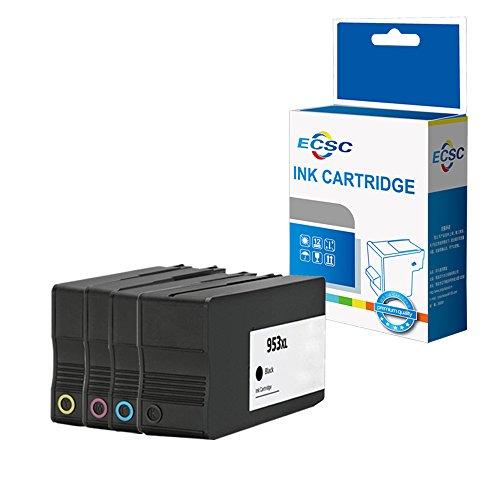 ECSC Remanufacturado Tinta Cartucho Reemplazo para HP Officejet Pro 7740 8210 8218 8710 8715 8716 8718 8720 8725 8728 8730 8740-953XL (Negro/Cian/Magenta/Amarillo, 4-Pack)