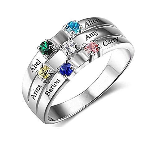 Wfhome Personalisierte Mütter Ringe mit 6 simulierten Birthstones Ringe für Mama Mutter Großmutter Geschenke für Muttertag Weihnachten