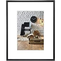 Hama Bilderrahmen Sevilla, DIN A4 (21 x 29,7 cm) mit Papier-Passepartout 15 x 20 cm, hochwertiges Glas, Kunststoff Rahmen, zum Aufhängen, schwarz