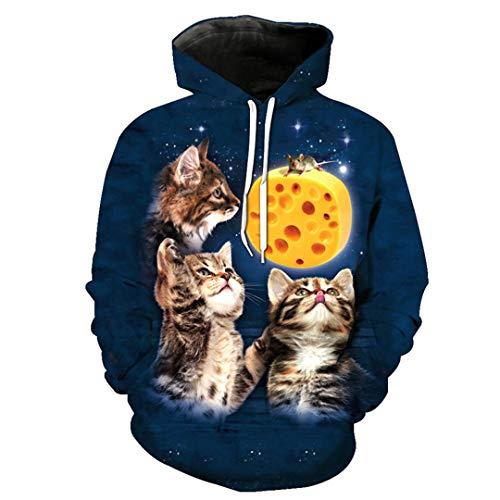 B-Pertand Lustige Bedruckte verzweifelte Maus 3 Katzen Lässige Pullover Sweatshirt Hochwertige Hoodies EUR GRÖSSE as The Picture ()