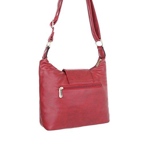 iTal-dEsiGn Damentasche Kleine Schultertasche Handtasche In Used Optik Kunstleder TA-S2509 Rot