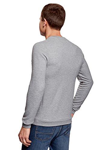 oodji Ultra Herren Lässiges Sweatshirt mit Ziereinsatz Grau (2500M)